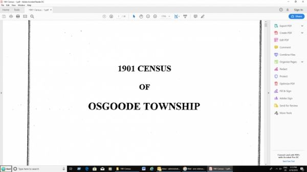 1901 Census of Osgoode Township