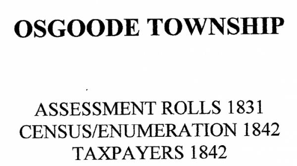 Osgoode Township - Assessment, Census, Taxpayers